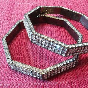 set 2 rhinestone octogon bracelet cuff bangle